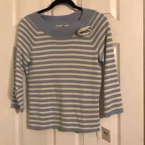 Emma James Sweaters - Light blue and white striped sweater